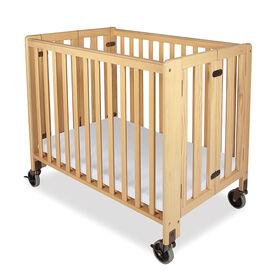Foundations Lit de bébé compact pliant en bois - fini naturel.