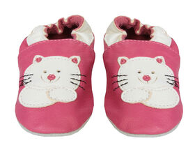 Tickle-toes Soft Leather Shoes with Cat Emblem - Bright Pink, 0-6 Months
