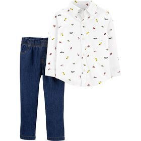 Carter's 2-Piece Button-Front Shirt & Denim Pant Set - Ivory/Blue, 24 Months