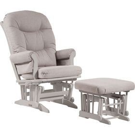 Dutailier Ultramotion- Sleigh Glider Multiposition,Recline and Nursing Ottoman Combo- White Finish and Light Grey Fabric