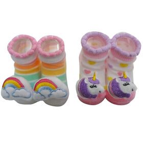So Dorable 2 Pack Rattle Booties With 3D Icons - Unicorn / Rainbow 0-12M