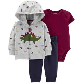 Carter's 3-Piece Dinosaur Cardigan Set - Grey, 6 Months