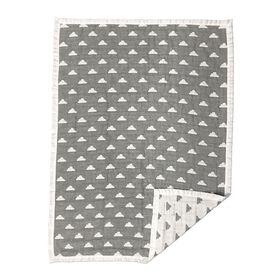 Cotton Muslin Jacquard Blanket - Nuages Gris.