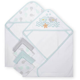 Koala Baby 2-Pack Hooded Towel & 4-Pack Washcoth Set, Whales