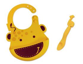 Marcus & Marcus Baby Bib & Feeding Spoon Set - Lola the Giraffe - Yellow