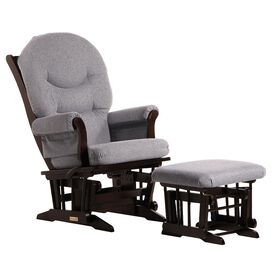 Dutailier Ultramotion- Sleigh Glider Multiposition,Recline and Ottoman Combo- Espresso Finish and Dark Grey Fabric