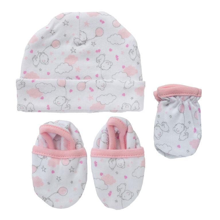 Koala Baby 3-Pack Set - Hat, Mittens, Booties - Pink Bear