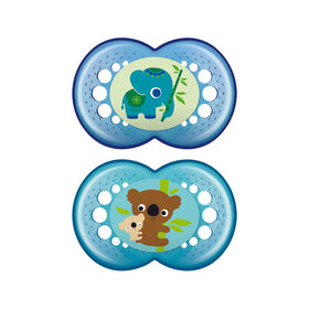 MAM Crystal Silicone Pacifier, 6+ Months, 2-Pack - Blue, Styles May Vary