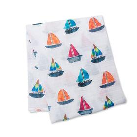 Lulujo - Sailboat Cotton Muslin Swaddling Blanket