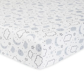 Gerber Organic Fitted Crib Sheet, Grey Cosmic