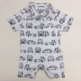 Coyote and Co. Car Print one-piece short set with collar - size 0-3 months