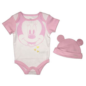 Disney Minnie Mouse 2-Piece Bodysuit and Hat Set - Pink, 12 Months