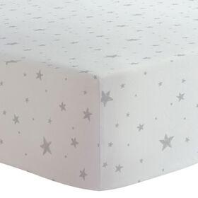 Kushies Baby Crib Sheet Flannel Grey Scribble Stars