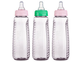 Gerber First Essentials Clearview 9oz Bottles, 3-Pack with Medium Flow Silicone Nipple - Pink/Green