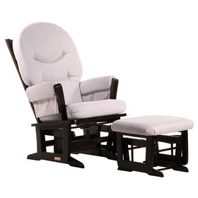Dutailier Ultramotion- Modern Glider and Ottoman Combo- Espresso Finish and Light Grey Fabric