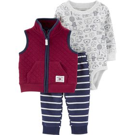 Carter's 3-Piece Sports Vest Set - Burgundy, 6 Months