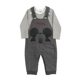 Disney Mickey Mouse 2 pc Overall set - Charcoal, 24 Months