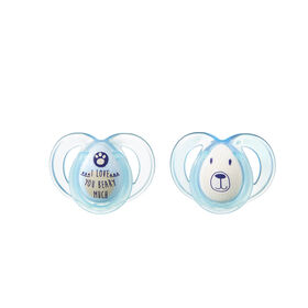 Tommee Tippee 2-Pack 6-18 Months Night Time Pacifier - Purple/Blue - Patterns may vary