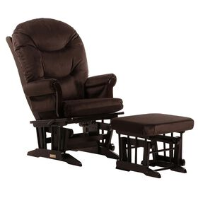 Dutailier Ultramotion Sleigh Glider and Nursing Ottoman Combo - Espresso Finish,Chocolate Fabric