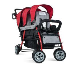 Foundations Splash of Colour Trio Sport 3 Passenger Stroller - Red