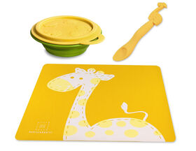 Marcus & Marcus Placemat & Collapsible Bowl & Feeding Spoon - Lola the Giraffe - Yellow