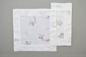 BBZanimo 2-Pack muslin security blanket - Dog Purple + Stars grey||BBZanimo 2-Pack muslin security blanket - Dog Purple + Stars grey