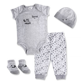 Baby Essentials Mommy Loves Me To The Moon and Back - 4-Piece Layette Set