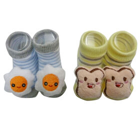 So Dorable 2 Pack Rattle Booties With 3D Icons - Eggs / French Toast 0-12M