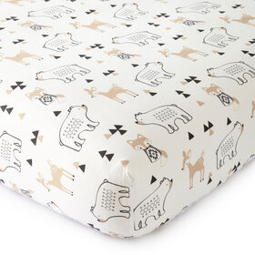 Levtex Baby Bailey Taupe and Grey Woodland Themed Crib Fitted Sheet
