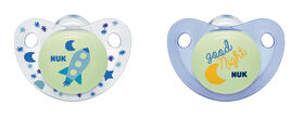 NUK Glow-in-the-Dark Orthodontic Pacifiers, 0-6 Months, 2-Pack - Cute-as-a-Button