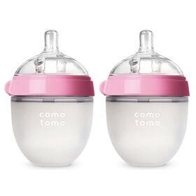 Comotomo - Natural Flow Bottle (Double Pack) - 150ML - Pink.