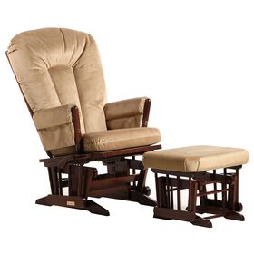 Dutailier Ultramotion- 2 Post Glider Multiposition,Recline and Ottoman Combo- Coffee Finish and Light Brown Fabric