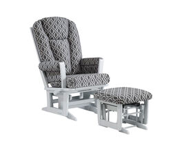 Dutailier/Ultramotion - Modern Glider Multiposition/Recline and Nursing Ottoman Combo - Charcoal Grey Microfiber Fabric