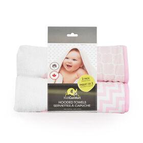 KidiComfort 2 Pack Hooded Towel - Pink - Styles May Vary