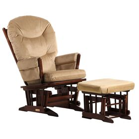 Dutailier Ultramotion- 2 Post Glider and Ottoman Combo- Coffee Finish and Light Brown Fabric