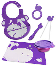 Marcus & Marcus Baby Bib & Collapsible Bowl & Feeding Spoon & Chopsticks & Teether & Placemat - Whale