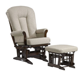 Dutailier Sleigh glider-multiposition, recline and nursing ottoman combo - Coffee/Harvest Beige