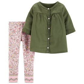 Carter's 2-Piece Sateen Button-Front Top & Floral Legging Set - Olive, 18 Months