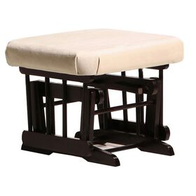 Dutailier Ultramotion Ottoman for Sleigh or 2 Post Glider- Espresso Finish and Light Beige Fabric