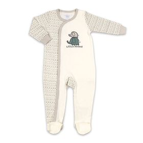 Koala Baby Cotton Sleeper White w/ Grey Tribal - Little Peanut, Newborn