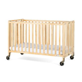 Foundations HideAway EasyRoll Folding Full Size Crib, Natural