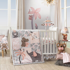 Lambs & Ivy Calypso Jungle Animals 4-Piece Crib Bedding Set - Pink/Gray