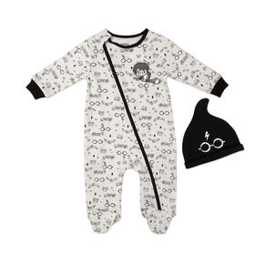 Harry Potter Sleeper with hat - Black, Newborn.