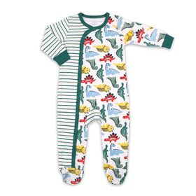 Koala Baby Cotton Sleeper Green Stripe w/ Multi Dino Print, 3-6 Months
