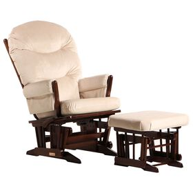 Dutailier Ultramotion- 2 Post Glider Multiposition,Recline and Ottoman Combo- Coffee Finish and Light Beige Fabric