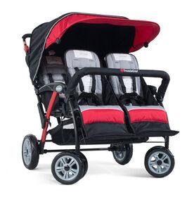 Foundations Splash of Colour Quad Sport 4 Passenger Stroller - Red