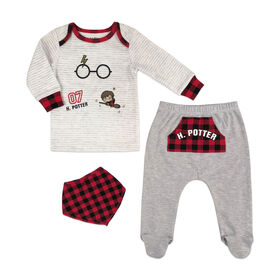 Harry Potter 3 Piece Layette Set - Grey, 9 Months.