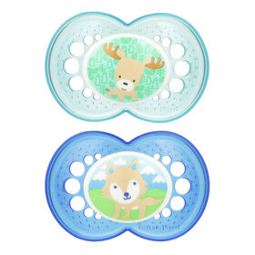 Mam Animals 2-Pack Silicone Pacifier 6+ - Blue/Green