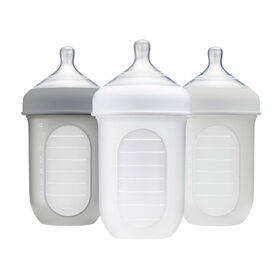 Boon Nursh Silicone Pouch Bottle 8 oz 3-Pack - Grey and White