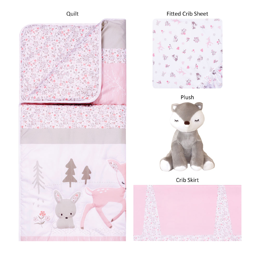 Sammy And Lou Sweet Forest Friends 4 Piece Crib Bedding